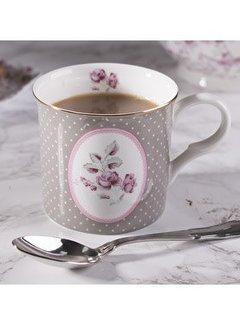Katie Alice Ditsy Floral; Engels Servies met bloemen porseleinen mok grijs met ovaal