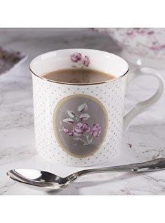 Katie Alice Ditsy Floral; Engels Servies met bloemen porseleinen mok wit & ovaal grijs