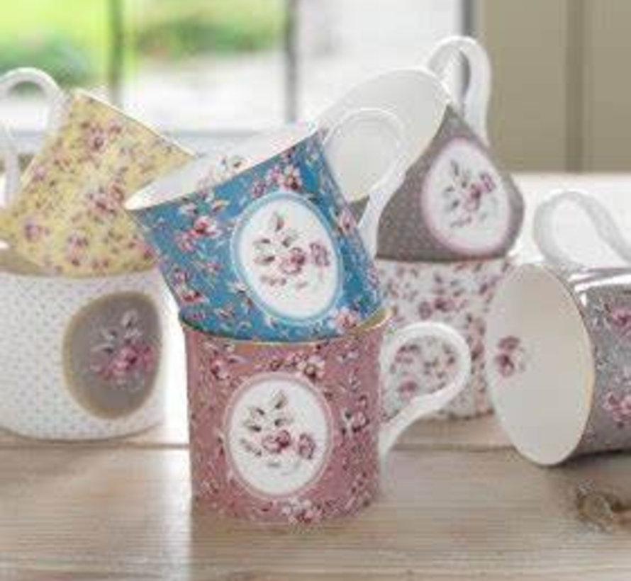 Copy of porseleinen mok- wit bloemen
