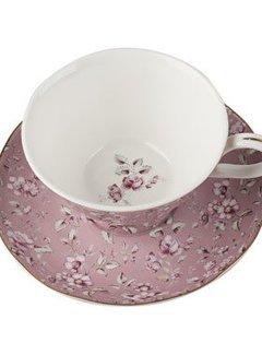 Katie Alice Ditsy Floral; Engels Servies met bloemen Copy of kop en schotel- grijs gebloemd
