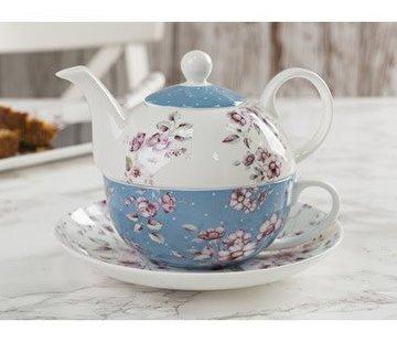 Katie Alice Ditsy Floral; Engels Servies met bloemen Copy of 3-delig theeset blauw & wit
