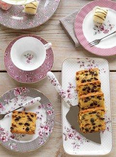 Katie Alice Ditsy Floral; Engels Servies met bloemen Porseleinen cakeschaal gebloemd