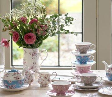 Katie Alice Ditsy Floral; Engels Servies met bloemen Copy of kop en schotel- roze gebloemd