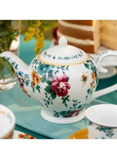 Katie Alice Bohemian Spirit; Engels wit porseleinen servies geel met bloemen 6 kops porseleinen theepot gebloemd