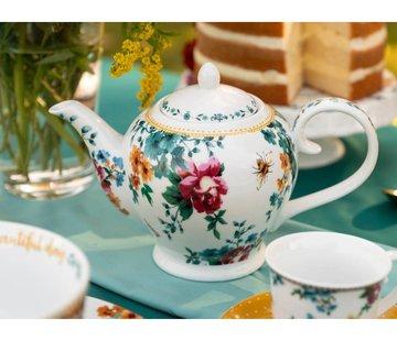 Katie Alice Bohemian Spirit; Engels wit porseleinen servies geel met bloemen Katie Alice Bohemian Spirit 6 kops theepot