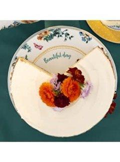 Katie Alice Bohemian Spirit; Engels wit porseleinen servies geel met bloemen Katie Alice Bohemian Spirit Cakeschaal