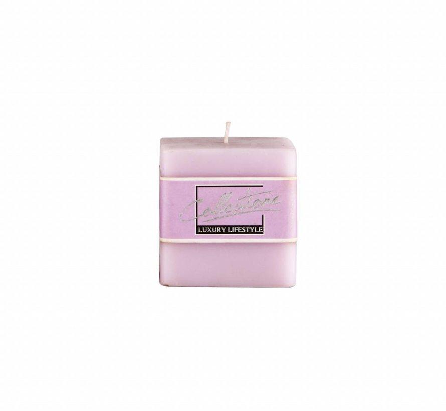Vierkante kaars  7,5cm x 7,5 cm, Lavendel