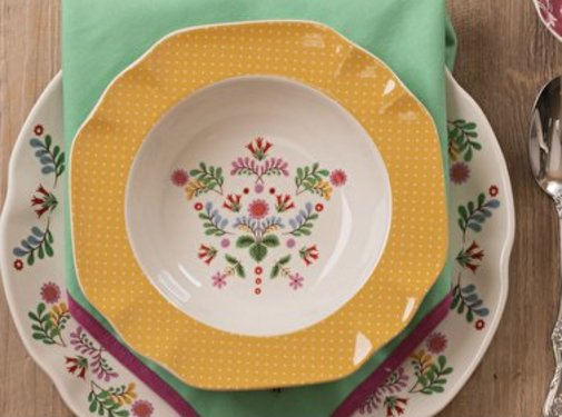 Katie Alice Festival Folk; Kleurrijk Engels Servies met bloemen Diep bord, soepbord geel