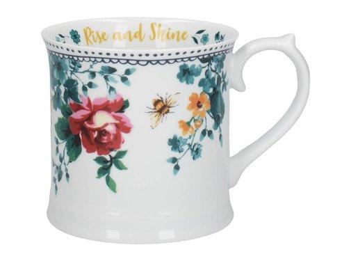 Katie Alice Bohemian Spirit; Engels wit porseleinen servies geel met bloemen mok met bloemenmotief wit