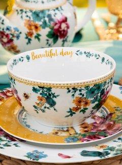 Katie Alice Bohemian Spirit; Engels wit porseleinen servies geel met bloemen Ontbijtschaaltje