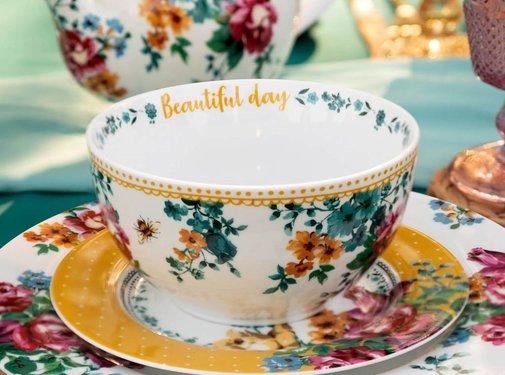 Katie Alice Bohemian Spirit; Engels wit porseleinen servies geel met bloemen Katie Alice Bohemian Spirit Ontbijtschaaltje