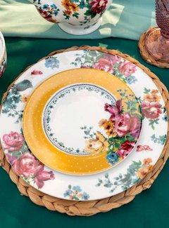 Katie Alice Bohemian Spirit; Engels wit porseleinen servies geel met bloemen Katie Alice Bohemian Spirit ontbijtbord mosterdkleurig met witte stippen n bloemenmotief