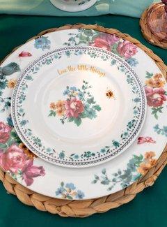 Katie Alice Bohemian Spirit; Engels wit porseleinen servies geel met bloemen ontbijtbord met bloemenmotief