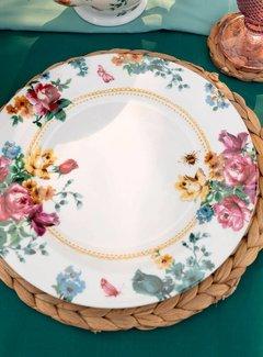 Katie Alice Bohemian Spirit; Engels wit porseleinen servies geel met bloemen Dinerbord wit gebloemd