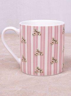 Katie Alice Cottage Flower; Compleet Vintage Servies met bloemen fine china mok - roze strepen