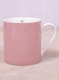 Katie Alice Cottage Flower; Compleet Vintage Servies met bloemen fine china mok - roze stippen