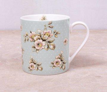 Katie Alice Cottage Flower; Compleet Vintage Servies met bloemen fine china mok - groene bloemen