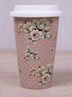 Katie Alice Cottage Flower; Compleet Vintage Servies met bloemen Travelmug, reisbeker dubbelwandige reismok/coffee to go