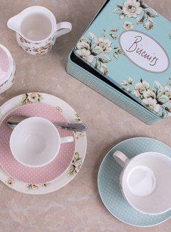 Katie Alice Cottage Flower; Compleet Vintage Servies met bloemen set van 2 voorraadblikken  - cakes- biscuits-