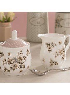 Katie Alice Cottage Flower; Compleet Vintage Servies met bloemen fine china - suiker en melkkannetje