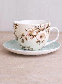 Katie Alice Cottage Flower; Compleet Vintage Servies met bloemen kop en schotel