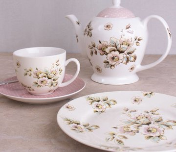 Katie Alice Cottage Flower; Compleet Vintage Servies met bloemen Theepot, 6 kops