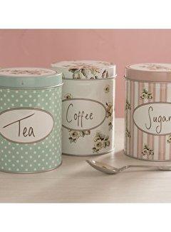 Katie Alice Cottage Flower set van 3 voorraadblikken,coffee ,tea & sugar