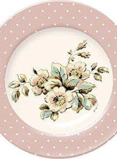 Katie Alice Cottage Flower; Compleet Vintage Servies met bloemen fine china ontbijtbord - roze