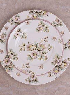 Katie Alice Cottage Flower; Compleet Vintage Servies met bloemen fine china ontbijtbord - creme