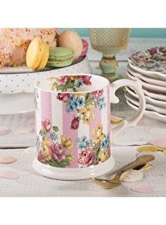 Katie Alice Blooming Fancy mok, gedecoreerd in een palet van bloemen en voorzien roze strepen
