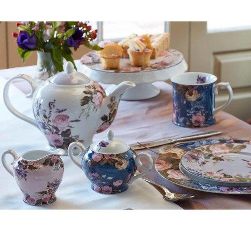 Katie Alice Wild Apricity; Compleet Engels Jachtservies met bloemen 6- kops theepot
