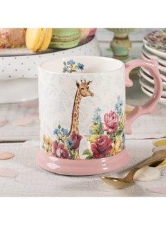 Katie Alice Blooming Fancy mok, gedecoreerd met een giraf in een palet van bloemen