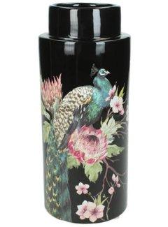 Zisensa, private collection Unieke woonaccessoires Vaas Peacock Shiny Black 24x11x11cm