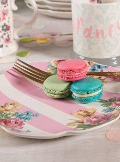 Katie Alice Blooming Fancy ontbijtbord, gedecoreerd in een palet van bloemen en voorzien roze strepen