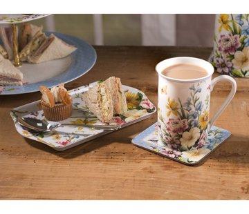 Katie Alice English Garden; Compleet Engels Porseleinen servies met bloemen Cadeauset bestaande uit dienblaadje, mok en onderzetter