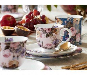 Katie Alice Wild Apricity; Compleet Engels Jachtservies met bloemen Kop en schotel bloemen