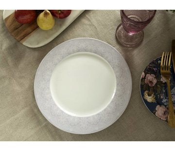 Katie Alice Wild Apricity; Compleet Engels Jachtservies met bloemen Katie Alice Wild Apricity Dinerbord, Grijs, rand met kanten motief 27cm,