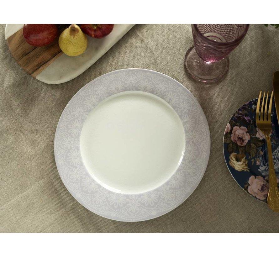 Katie Alice Wild Apricity Dinerbord, Grijs, rand met kanten motief 27cm,