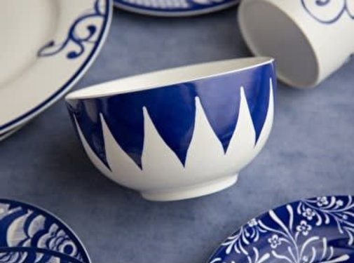 V&A The Cole Collection Triangle Geo kom blauw en wit