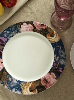 Katie Alice Wild Apricity Dinerbord, Blauwe rand met vogels en bloemenmotief