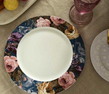 Katie Alice Wild Apricity; Compleet Engels Jachtservies met bloemen Katie Alice Wild Apricity Dinerbord, Blauwe rand met vogels en bloemenmotief 27cm