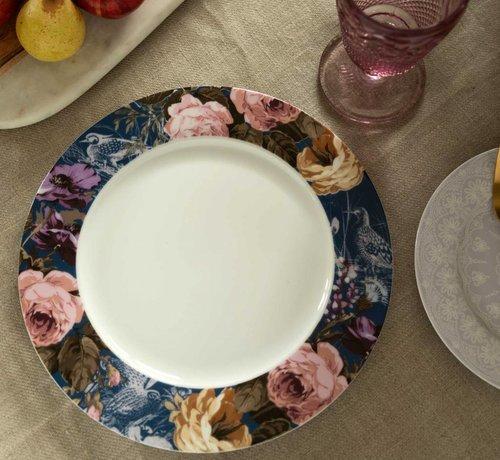 Katie Alice Wild Apricity; Compleet Engels Jachtservies met bloemen Dinerbord, Blauwe rand met vogels en bloemenmotief