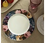 Dinerbord, Blauwe rand met vogels en bloemenmotief