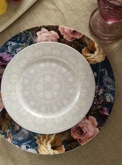 Katie Alice Wild Apricity; Compleet Engels Jachtservies met bloemen Katie Alice Wild Apricity Ontbijtbord grijs met kanten motief 19cm