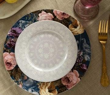 Katie Alice Wild Apricity; Compleet Engels Jachtservies met bloemen Ontbijtbord grijs met kanten motief