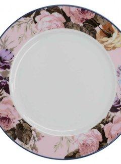 Katie Alice Wild Apricity; Compleet Engels Jachtservies met bloemen Katie Alice Wild Apricity Ontbijtbord, Rose rand met bloemmotief, 19cm