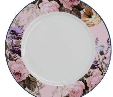 Katie Alice Wild Apricity; Compleet Engels Jachtservies met bloemen Ontbijtbord, Rose rand met bloemmotief