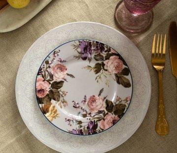 Katie Alice Wild Apricity; Compleet Engels Jachtservies met bloemen Katie Alice Wild Apricity Ontbijtbord, grijs met bloemmotief 19cm