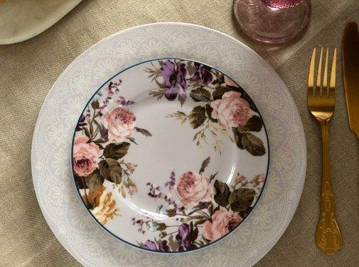 Katie Alice Wild Apricity; Compleet Engels Jachtservies met bloemen Ontbijtbord, grijs met bloemmotief