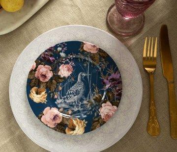 Katie Alice Wild Apricity; Compleet Engels Jachtservies met bloemen Ontbijtbord,blauw met vogel en bloemmotief